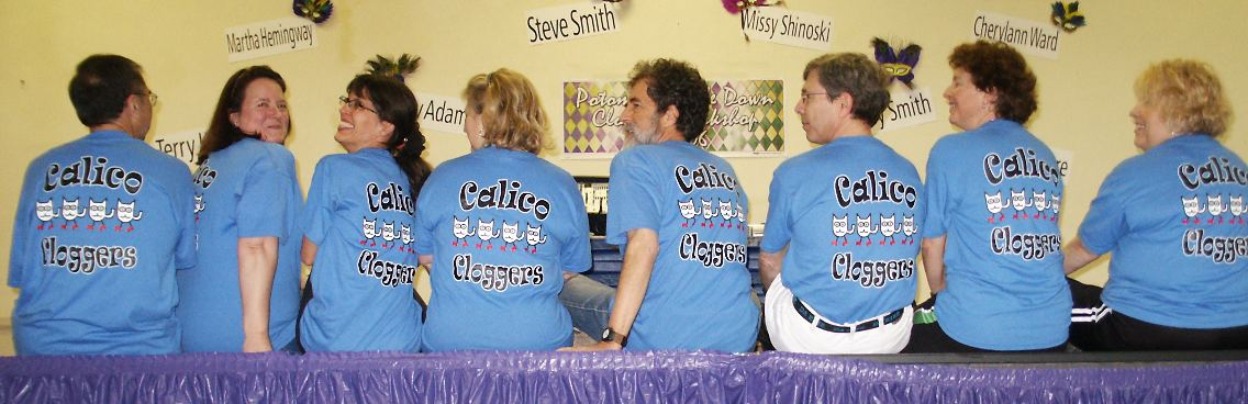 Calico Cloggers' shirts at the Potomac Double Down Clogging Workshop
